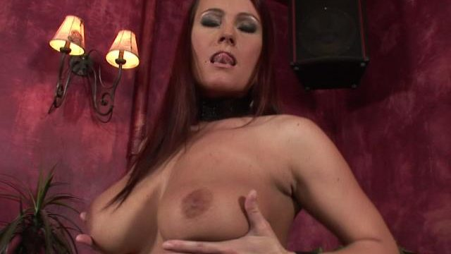 Auburn Haired Wifey Fondling Her Impressive Udders With Eagerness