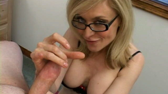 Exclusive Ash-blonde Grandmother In Glasses Nina Hartley Munching A Monster Cumbot