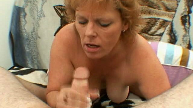 Trashy Grandmother With Huge Bra-stuffers Megan Offers Bj And Hand-job On Her Knees